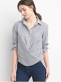 Poplin stripe wrap-button shirt