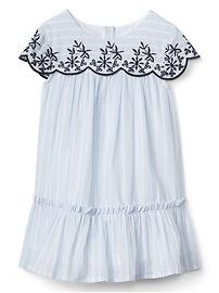 Stripe Embroidery Ruffle Dress