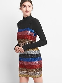 Crazy stripe sleeveless sequin dress