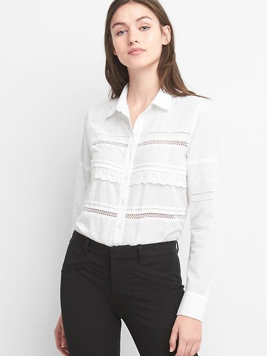 Eyelet Lace Boyfriend Shirt by Gap