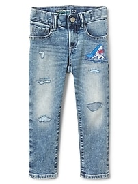 Gap for Good Shark Patch Slim Jeans in Fantastiflex