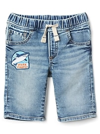 Pull-On Denim Shorts with Shark Patch
