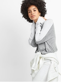 Softspun Long Sleeve Boatneck Top with Side Panel Detailing