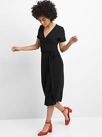 Softspun Midi Wrap Dress in Ribbed