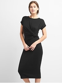 Softspun Midi T-Shirt Dress with Twist-Knot Detail
