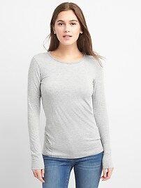 Long Sleeve Stripe Crewneck T-Shirt Tunic in Feathered Knit