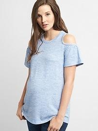 T-shirt de maternité à épaules ouvertes au fini soyeux