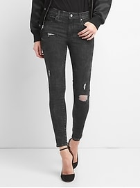 Mid Rise True Skinny Jeans in Sculpt with Destruction