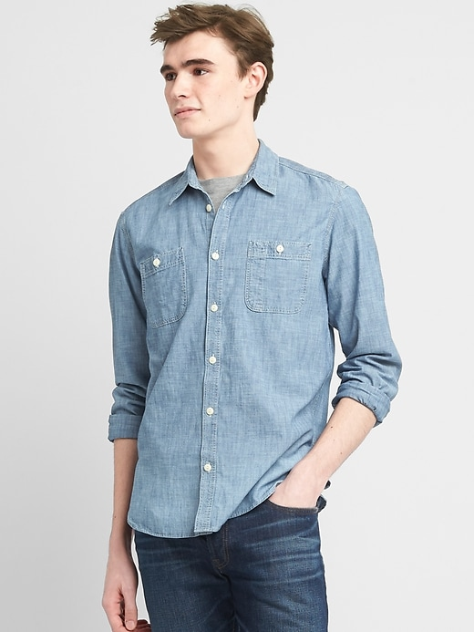 Icon Worker Shirt In Chambray by Gap