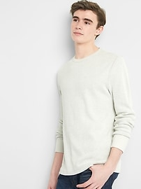Long Sleeve Crewneck T-Shirt in Waffle Knit
