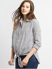 Maternity Long Sleeve Tie-Front Shirt in Poplin