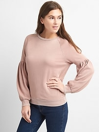 Puff Sleeve Pullover Sweatshirt in French Terry