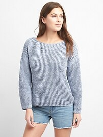 Chenille Wide-Sleeve Boatneck Pullover Sweater