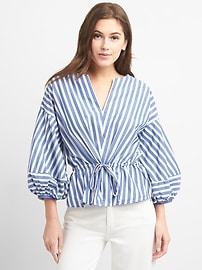 Stripe Balloon Sleeve Top with Cinched Waist