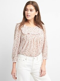 Three-Quarter Sleeve Pintuck Blouse in Print Chiffon
