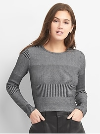 Crop Long Sleeve Plaited Knit T-Shirt