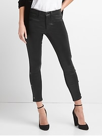 Mid Rise Inner Cozy Favorite Jeggings in Coated Black