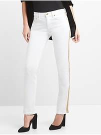 Mid Rise Classic Straight Jeans in White with Metallic Detail
