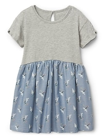 Floral Mix-Fabric Dress in Chambray