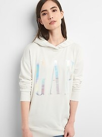 Metallic Logo Pullover Hoodie Tunic in French Terry