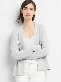 Open-Front Textured Knit Cardigan Sweater