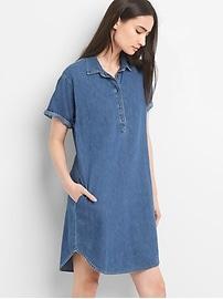 Short Sleeve Denim Pullover Shirtdress
