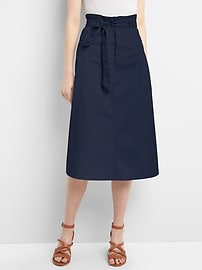 Paperbag Waist Utility Midi Skirt with Tie-Belt