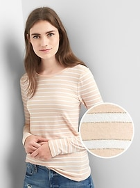 Metallic stripe long sleeve tee