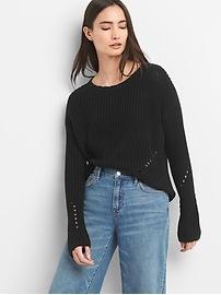 Textured Split-Back Crewneck Sweater
