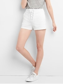 "High Rise 3"" Denim Shorts with Lace-Up Detail"