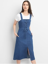 Lace-Up Denim Tank Midi Dress