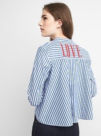 Stripe band collar shirt