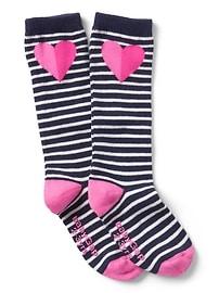 Chaussettes au genou à imprimé de cœurs