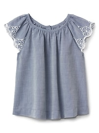 Eyelet Flutter Chambray Top