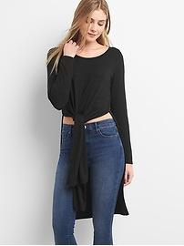 Softspun Long Sleeve Tie-Front T-Shirt Tunic