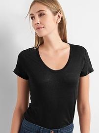 Short Sleeve Scoop Neck T-Shirt in Linen