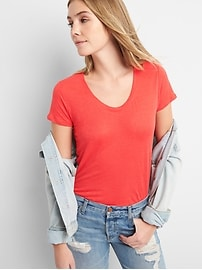 Short Sleeve Scoop Neck T-Shirt in Linen