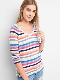 Stripe U-Neck Raglan Pullover Sweater