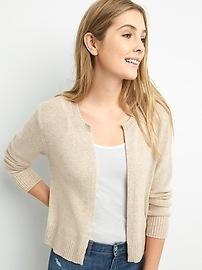 Slim Open-Front Cardigan Sweater in Merino Wool-Blend