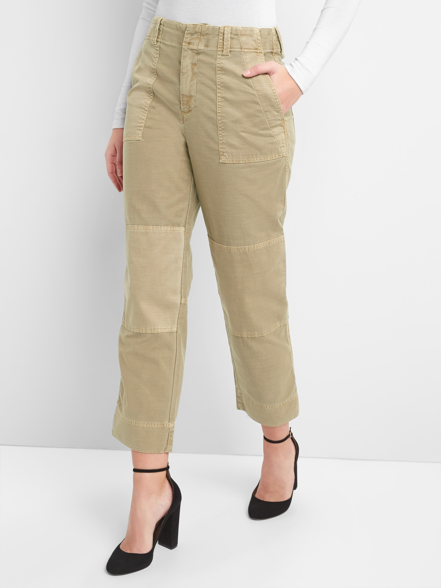 8e560ad852 High Rise Patch Utility Chinos | Gap