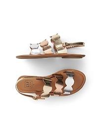 Metallic Scalloped Sandals