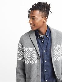 Fair isle shawl-collar cardigan