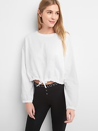 Crop Puffy Long Sleeve Tie-Waist T-shirt