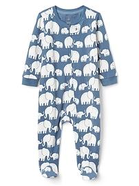 Une-pièce en coton biologique à motif d'éléphant