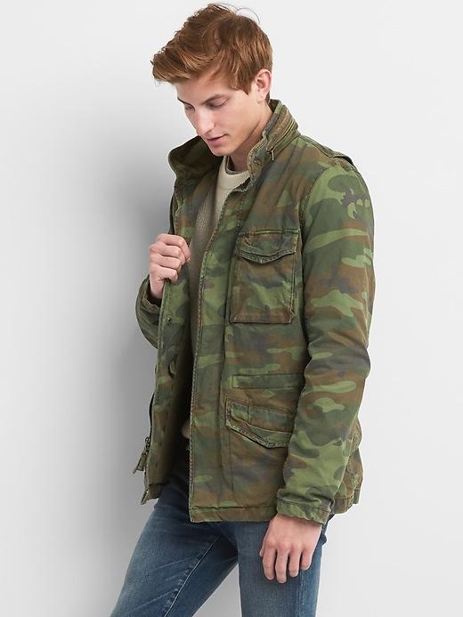Camo Print Military Jacket With Hidden Hood by Gap