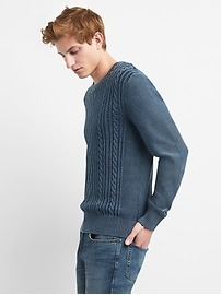 Cable-Knit Pullover Crewneck Sweater in Combed Cotton
