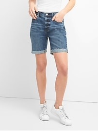 "High Rise 7"" Denim Shorts with Raw Hem"