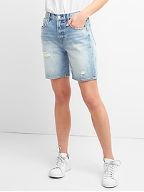 "Washwell High Rise 7"" Denim Shorts with Distressed Detail"
