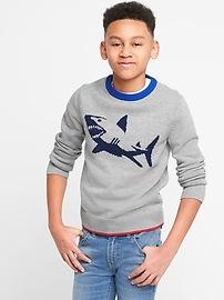 Shark Graphic Crewneck Sweater