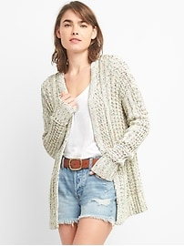 Textured Knit Cocoon Open-Front Cardigan Sweater